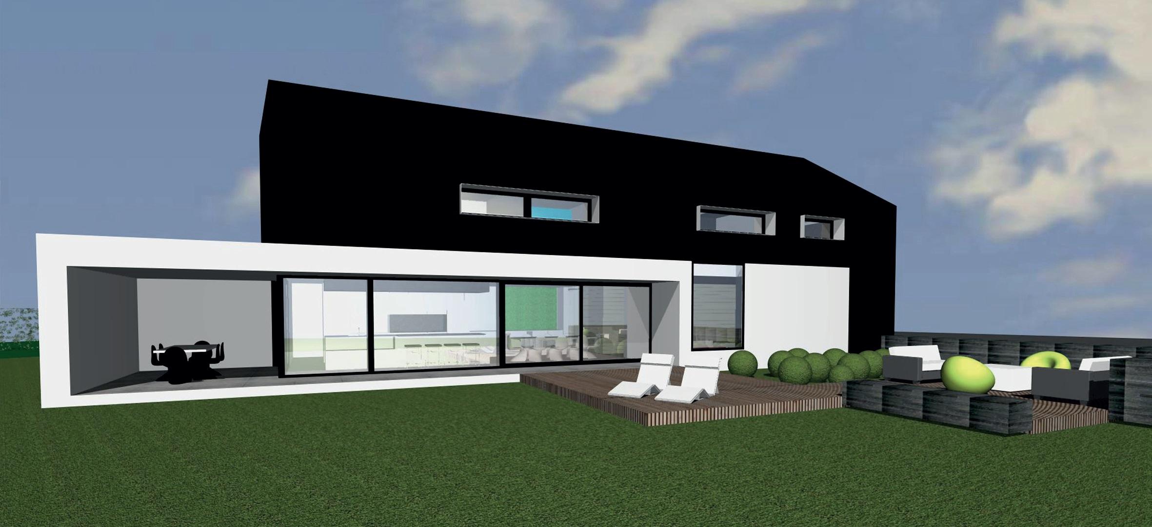 Maison 4 fa ades un volume homog ne bien int gr masser for Facade maison architecte